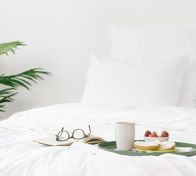 Breakfast on a white bed - Nectar Mattress